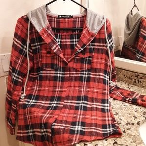 Red Allegara K Plaid Button Down Flannel